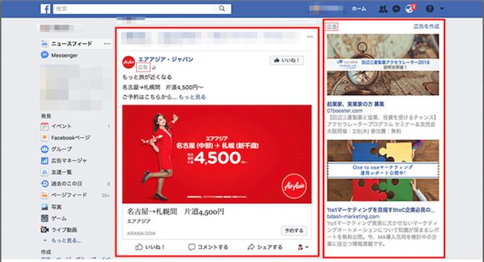 Facebook広告の表示される場所